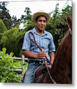 A Young Man Sits On A Horse And Smiles Metal Print