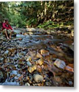A Young Man Watches A Shallow River Metal Print