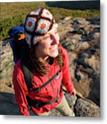 A Young Woman Hiking On Cadillac Metal Print