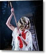 A Young Woman Holds An Axe Overhead Metal Print