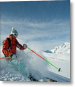 A Young Woman Skis The Backcountry Metal Print