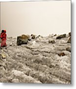 A Young Woman Treks Down From Cho La Metal Print