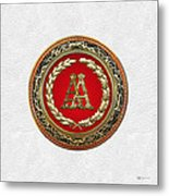 Aa Initials - Gold Antique Monogram On White Leather Metal Print