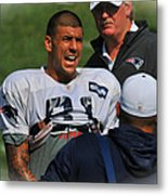 Aaron Hernandez With Patriots Coaches Metal Print