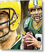 Aaron Rodgers Green Bay Packers Quarterback Artwork Metal Print