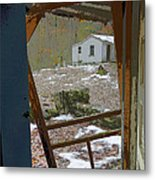 Abandoned Cabin Elkmont Smoky Mountains - Screened Door Old House Metal Print