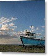 Abandoned Fishing Boat Digital Painting Metal Print