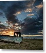 Abandoned Fishing Boat Sunset Landscape Digital Painting Metal Print by Matthew Gibson