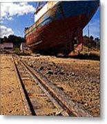 Abandoned Fishing Ship Metal Print
