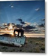 Abandoned Fishing Sunset Digital Painting Metal Print by Matthew Gibson