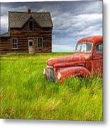 Abandoned Homestead House And Red Metal Print