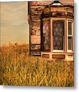 Abandoned House In Grass Metal Print