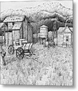 Abandoned Old Farmhouse And Barn Metal Print