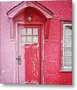 Abandoned Pink And Red House Metal Print