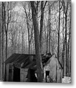 Abandoned Sugar Shack In Black And White Metal Print