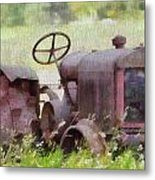 Abandoned Tractor On The Farm Metal Print