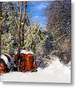 Abandoned Winter Tractor Metal Print