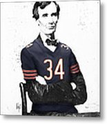 Abe Lincoln In A Walter Payton Chicago Bears Jersey Metal Print