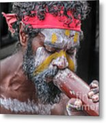 Aboriginal Playing Didgeridoo Metal Print