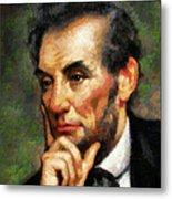 Abraham Lincoln - Abstract Realism Metal Print