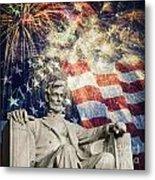 Abraham Lincoln Fireworks Metal Print