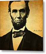 Abraham Lincoln Portrait And Signature Metal Print