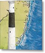 Absecon Lighthouse Nj Nautical Chart Map Art Cathy Peek Metal Print
