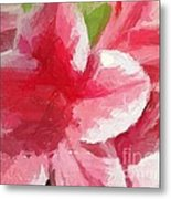 Abstract 106 Pink Painterly Flowers Metal Print