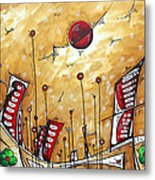 Abstract Art Cityscape Original Painting The Garden City By Madart Metal Print