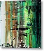 Abstract Art Colorful Original Painting Green Valley By Madart Metal Print