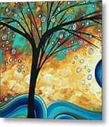 Abstract Art Contemporary Painting Summer Blooms By Madart Metal Print