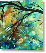 Abstract Art Landscape Circles Painting A Secret Place 2 By Madart Metal Print
