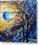 Abstract Art Landscape Metallic Gold Textured Painting Eye Of The Universe By Madart Metal Print