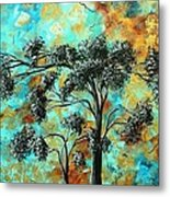 Abstract Art Landscape Metallic Gold Textured Painting Spring Blooms II By Madart Metal Print