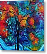 Abstract Art Landscape Tree Bold Colorful Painting A Secret Place By Madart Metal Print