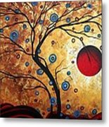Abstract Art Landscape Tree Metallic Gold Texture Painting Free As The Wind By Madart Metal Print