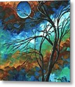 Abstract Art Original Colorful Painting Mystery Of The Moon By Madart Metal Print