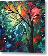 Abstract Art Original Colorful Painting Spring Blossoms By Madart Metal Print