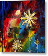 Abstract Art Original Daisy Flower Painting Visual Feast By Madart Metal Print