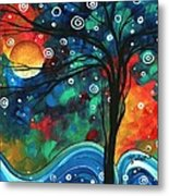 Abstract Art Original Landscape Colorful Painting First Snow Fall By Madart Metal Print