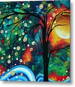 Abstract Art Original Landscape Painting Bold Circle Of Life Design Dance The Night Away By Madart Metal Print