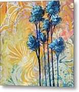 Abstract Art Original Landscape Painting Contemporary Design Blue Trees II By Madart Metal Print