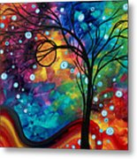 Abstract Art Original Painting Winter Cold By Madart Metal Print