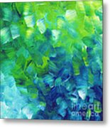 Abstract Art Original Textured Soothing Painting Sea Of Whimsy I By Madart Metal Print by Megan Duncanson