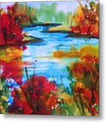 Abstract - Autumn Blaze On Catskill Creek Metal Print