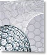 Abstract Background With Buckyball Metal Print by Christos Georghiou