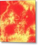 Abstract Batik In Yellow And Red Shades Metal Print