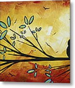 Abstract Bird Landscape Tree Blossoms Original Painting Family Of Three Metal Print