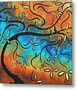 Abstract Bird Painting Original Art Madart Tree House Metal Print