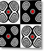 Abstract Black White Red Op Art Minimalism No.217  Metal Print by Drinka Mercep